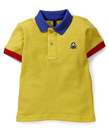 UCB Half Sleeves Polo T-Shirt Logo Embroidery - Light Yellow