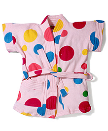 Red Rose Short Sleeves Bathrobe Dot Design - Baby Pink