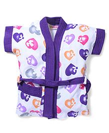 Red Rose Short Sleeves Bathrobe Heart Design - Purple White