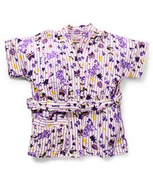 Red Rose Short Sleeves Bathrobe Dora Design - Purple