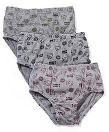 Hello Kitty Printed Panties Pack of 3 - Grey