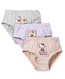 Hello Kitty Printed Panties Pack of 3 - Grey Peach Green