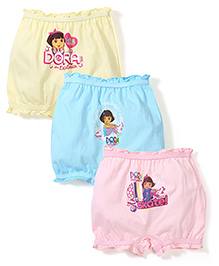 Dora Printed Bloomers Pack of 3 - Sky Blue Light Yellow & Light Pink