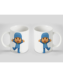 Stybuzz Kids Ceramic Mug Cartoon Print White & Blue 300 Ml - Single Piece
