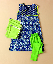 Amber Jaipur Flower Print Kurti Leggings & Dupatta Set - Blue & Green