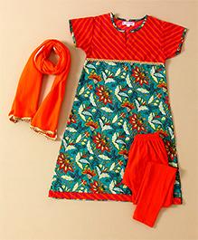 Amber Jaipur Printed Kurti Leggings & Dupatta Set - Orange