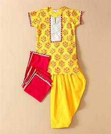 Amber Jaipur Floral Print Patiala Suit - Yellow
