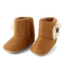 Little Hip Boutique Flower Boots - Khaki Brown