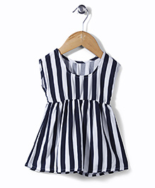 UCB Sleeveless Striped Frock - Black White