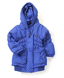 Babyhug Hooded Jacket Allover Polka Dot Print - Royal Blue
