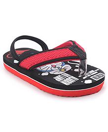 Doraemon Flip Flops With Back Strap - Black Red