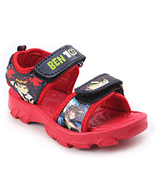 Ben 10 Sandals With Dual Velcro Closure - Red