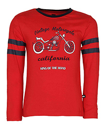 Bells and Whistles Full Sleeves T- Shirt Bike Print - Red