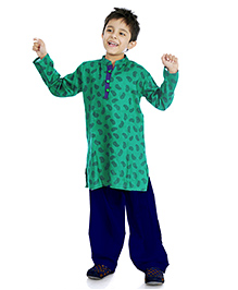 Little Pockets Store Printed Kurta & Bottom Set - Green & Blue