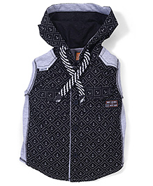 Little Kangaroos Sleeveless Printed Hooded Shirt - Black