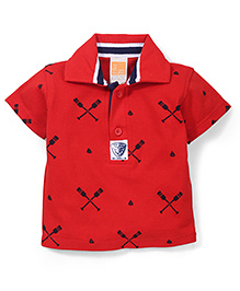 Little Kangaroos Half Sleeves Printed Polo T-Shirt - Red