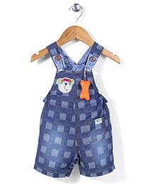 Little Kangaroos Denim Dungarees Checks Print - Blue