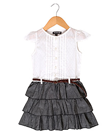 Sequences Ra Ra Skirt Dress - White & Grey