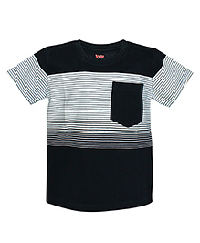 Bells and Whistles Striped Half Sleeves T-Shirt - Black