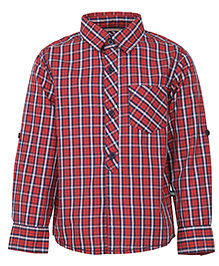 Bells and Whistles Varsity Themed Check Shirt - Red