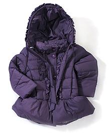 Babyhug Hooded Jacket Frilled Button Placket - Dark Purple