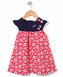 Beebay Cap Sleeves Floral Print With Bow Applique Frock - Navy & Red