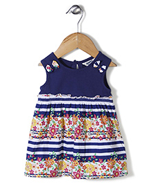 Beebay Sleeveless Floral Printed Frock With Bow Applique - Navy & White