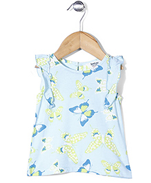 Beebay Flutter Sleeves Butterfly Print Top - Light Blue