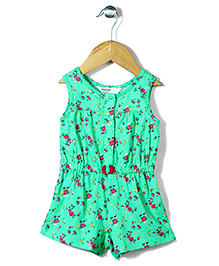 Beebay Sleeveless Floral Print Jumpsuit - Green