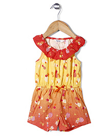 Beebay Elasticated Waist Pineapple Print Jumpsuit -Yellow & Orange