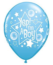 Planet Jashn Yep I'm A Boy Latex Balloon - Blue