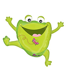 Planet Jashn Leaping Frog Supershape Balloon - Green