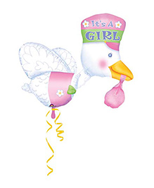 Planet Jashn Bundle Of Joy Stork Its A Girl Balloon - Pink And White