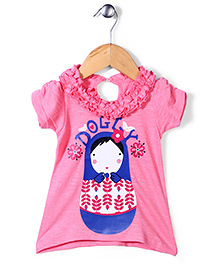 Pinehill Half Sleeves Top Dolly Print - Pink
