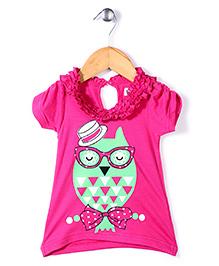 Pinehill Half Sleeves Top Owl With Googles Print - Pink