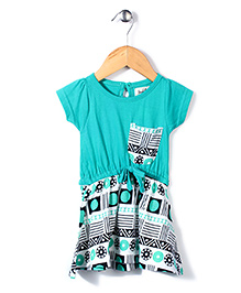 Pinehill Half Sleeves Frock Geometric Print - Green