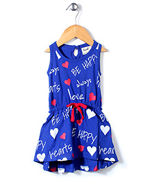 Pinehill Sleeveless Frock Be Happy Print - Blue