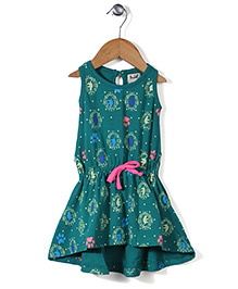 Pinehill Sleeveless Frock Cats Print - Green