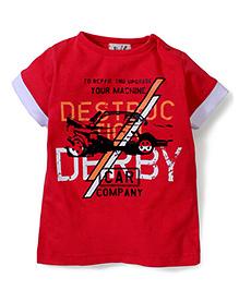 Pinehill Half Sleeves T-Shirt Derby Car Company Print - Plum Red