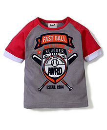Pinehill Fast Ball Print Half Sleeves T-Shirt - Grey