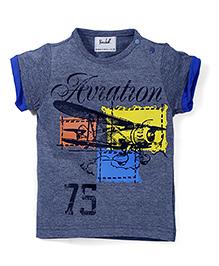 Pinehill Half Sleeves T-Shirt Aviation Print - Dark Grey