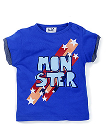 Pinehill Half Sleeves T-Shirt Monster Print - Royal Blue