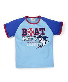 Pinehill Half Sleeves T-Shirt Boat Navy Print - Light Blue