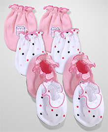 Ben Benny Printed Mittens And Booties Set Of 2 - Pink White