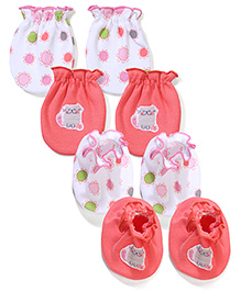 Ben Benny 2 Pair Of Mittens & Booties - White & Pink