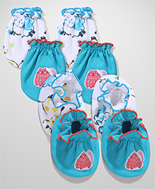Ben Benny Printed Mittens And Booties Set Of 2 - Blue White