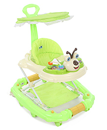 Musical Baby Walker Cum Rocker With Canopy - Green And Cream