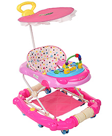 Musical Baby Walker Cum Rocker with Canopy - Purple & Pink