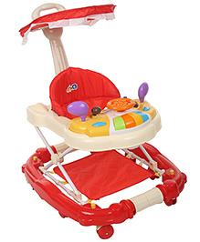 Baby Walker Cum Rocker With Canopy - Red Cream