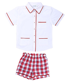 ShopperTree Half Sleeves Shirt And Check Shorts - White Red